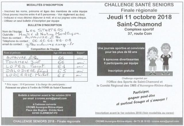 Challenge seniors région Auvergne Rhône-Alpes